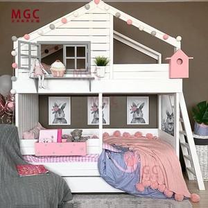 实木儿童树屋床双层子母床储物抽拉床三层高低床公主城堡床带滑梯