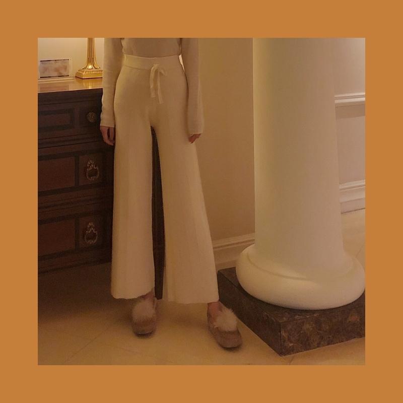 WangHanYan自制抗起球系带奶奶裤高腰阔腿裤显瘦直筒裤加厚三色入