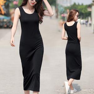 超长款裙子到脚踝的吊带连身裙女秋冬无袖打底黑色背心连衣裙夏季