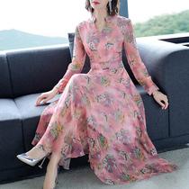 贵夫人大码香云纱连衣裙子台湾网纱品牌高贵减龄桑蚕丝气质春夏季