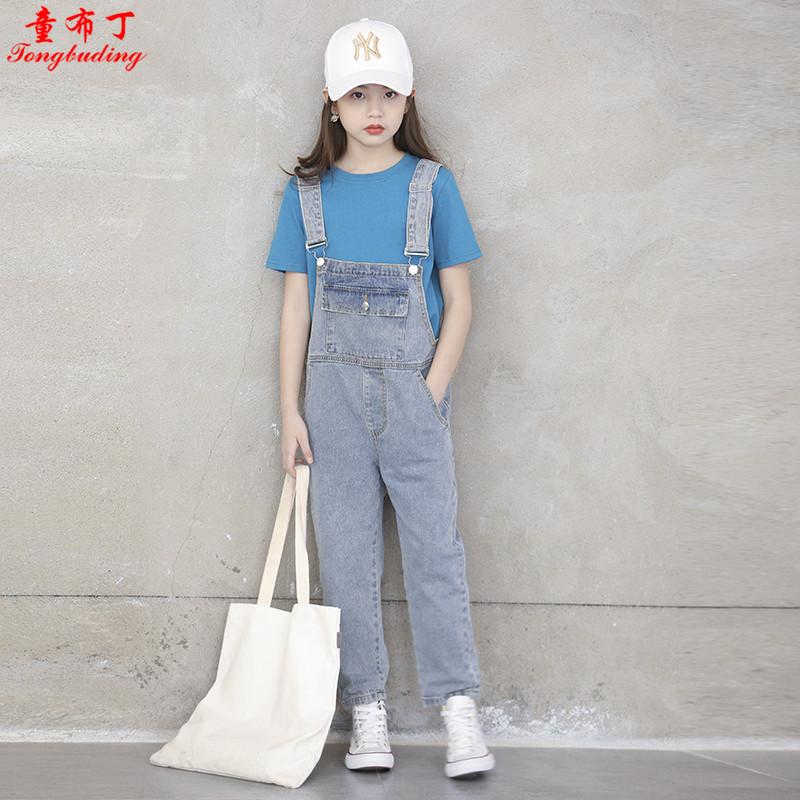 女童新秋款牛仔2021韩版个性背带裤