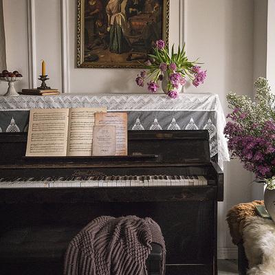 范居态度 钢琴罩法式欧式ins防尘半罩电钢琴布盖布儿童琴披全罩