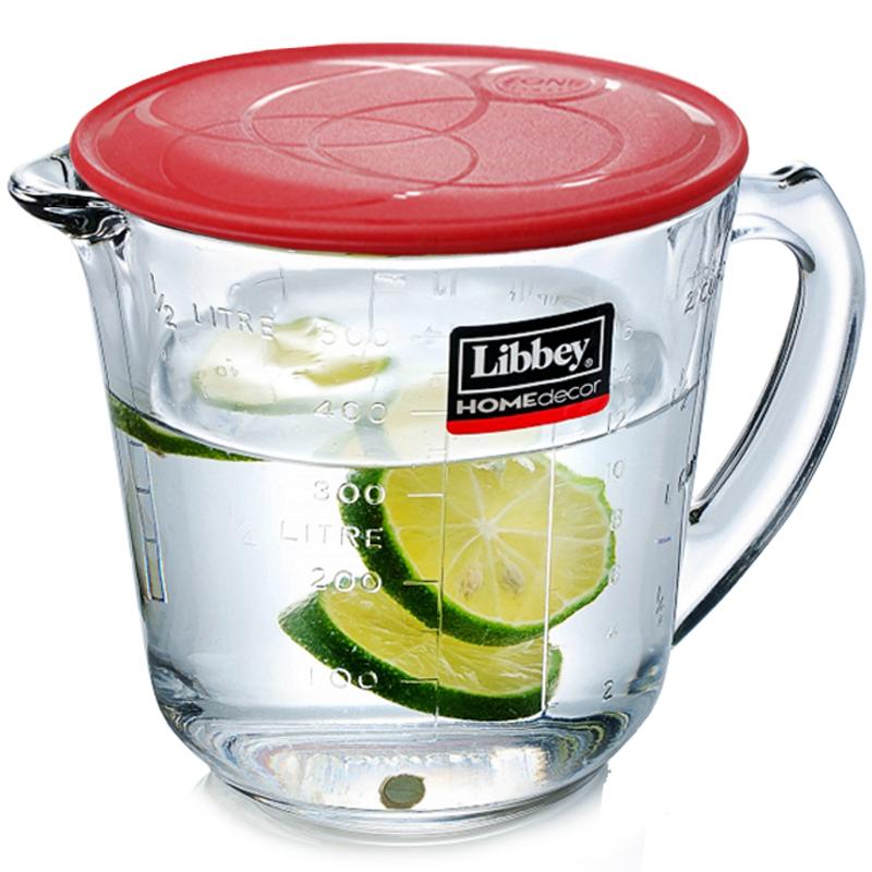 Libbey利比进口玻璃量杯牛奶杯烘培杯微波炉加热带刻度手柄计量杯