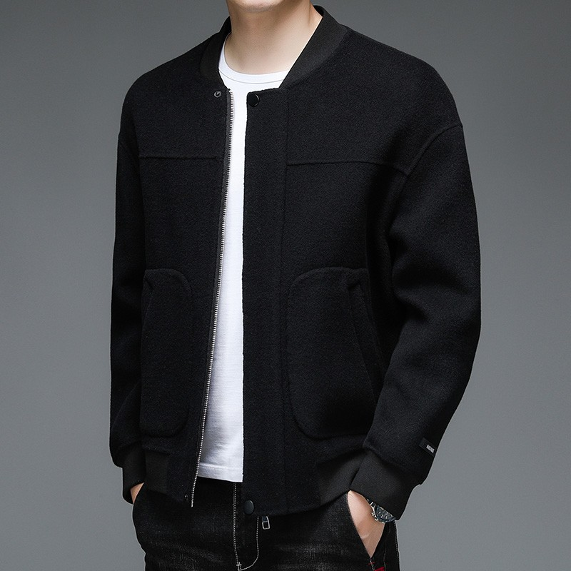 European station high-grade pure wool double-sided wool coat mens autumn and winter baseball collar off shoulder sleeve silhouette wool jacket