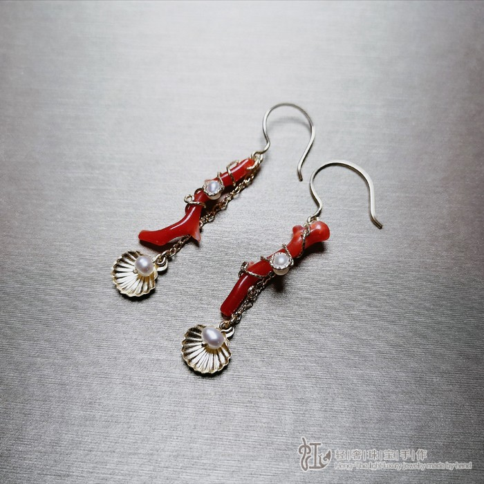 Seabed collection imported 14K Gold injection organic gem coral branch shell pearl Tassel Earrings Earrings headwear