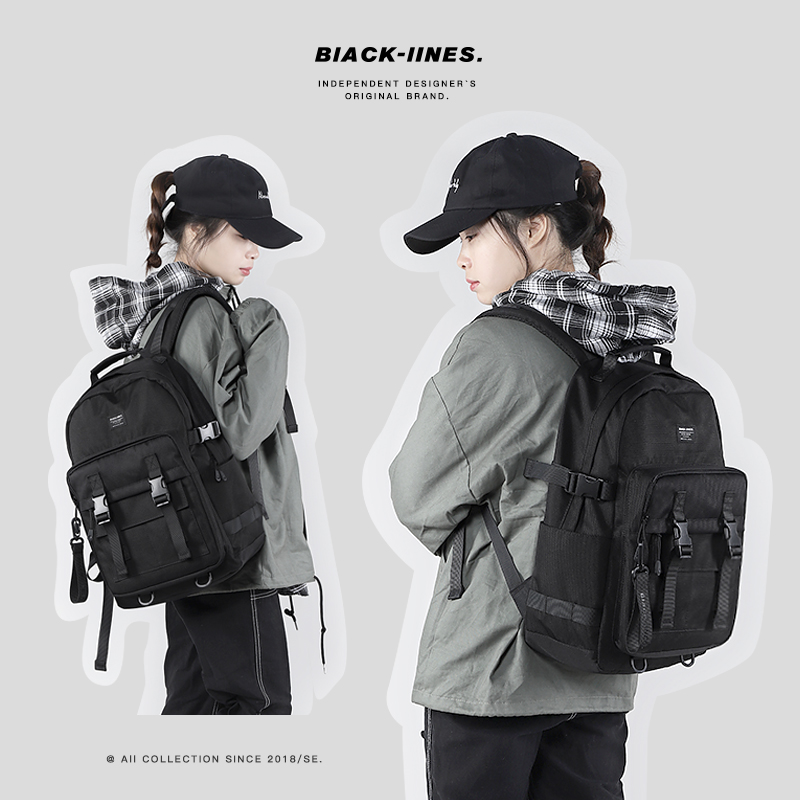 Blacklines backpack womens fashion brand tooling backpack mens travel high capacity high school students computer schoolbag