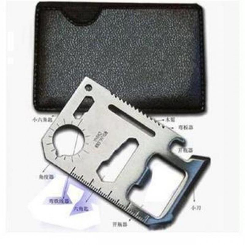 户外用品 加厚野营便携工具多功能万能救生卡片刀军刀卡 送皮套