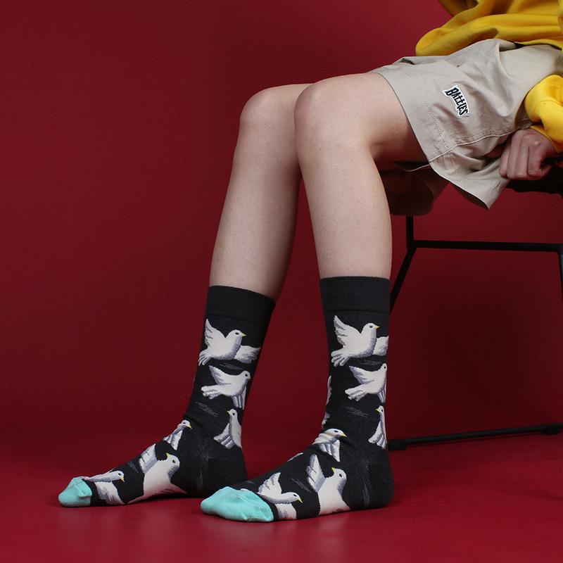 日系ins风和平鸽子卡通男女中筒袜(用2.2元券)