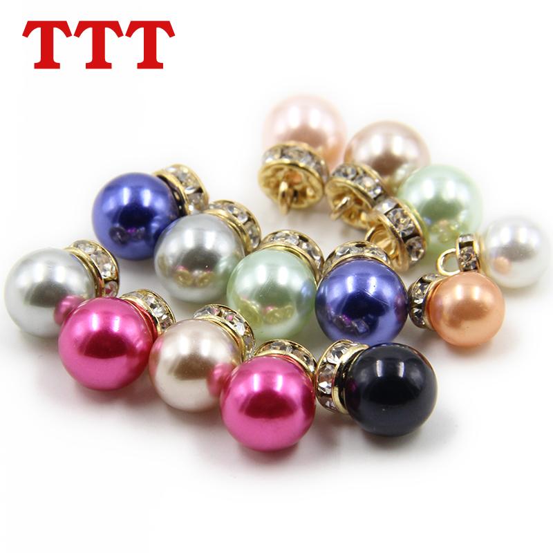包邮TTT彩色珍珠钻纽扣扣子金属高脚水钻底女衬衫钮扣开衫童装扣