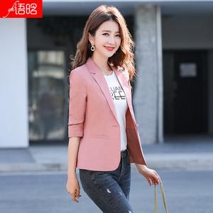 棉麻西装外套女夏季薄款网红洋气上衣粉色短款小个子单件亚麻西服