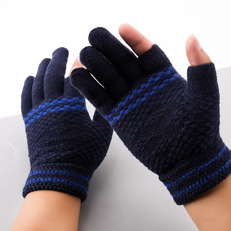 Neville warm autumn and winter increased open finger gloves mens wool students writing leakage two half finger gloves Office