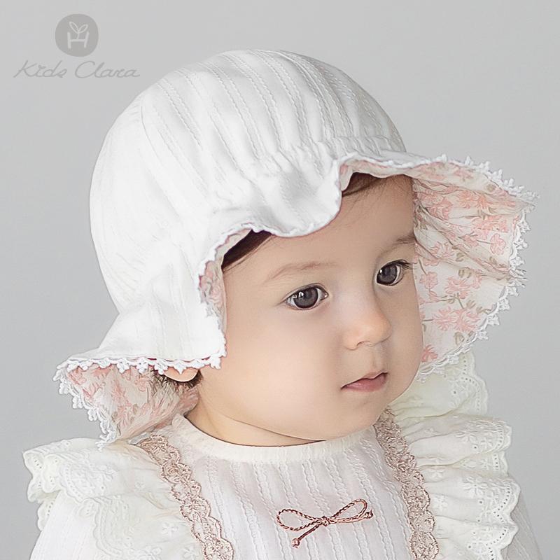 韩国进口女宝宝帽子春款可爱洋气公主风女童遮阳帽春季出游婴儿帽