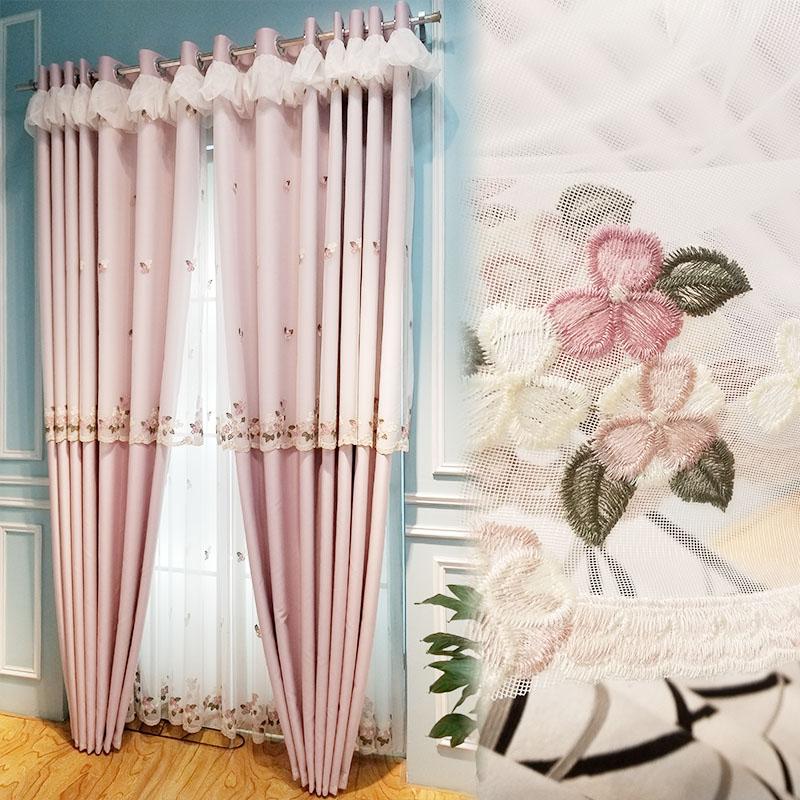 [卡汀]小美式韩式田园粉色芙蓉花遮光隔音客厅卧室婚房窗帘绣花纱