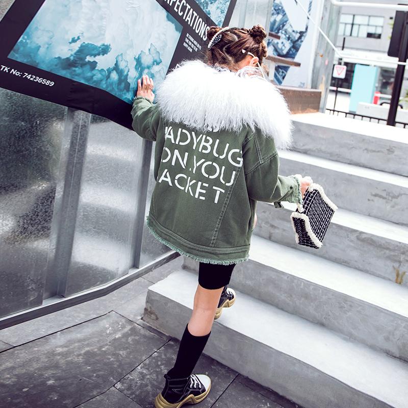 女童加绒外套2021冬季新款毛领夹克