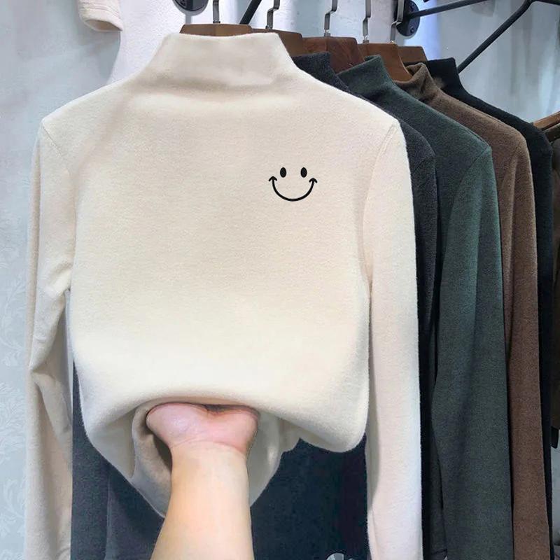 Double sided velvet half high collar slim T-shirt for women in autumn and winter