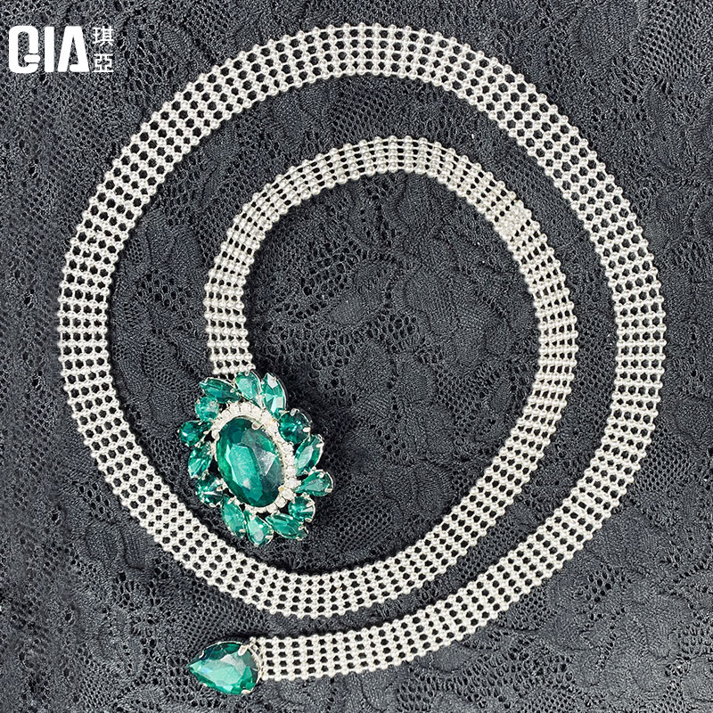 Qiya belly dance waist chain green ghost gem belt accessories beginner 2019 new dance metal jewelry female