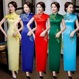 改良旗袍优雅年轻款少女长款红色走秀演出中国风连衣裙2020年复古