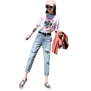 破洞牛仔裤子女高腰宽松浅色萝卜裤