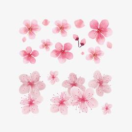 古风樱花纹身贴眼角泪痣小花朵桃花锁骨花钿小清新网红可爱纹身贴图片