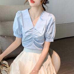 实拍娃娃领上衣女2021夏装新宽松T恤泡泡袖抽褶雪纺衫短袖衬衫p52