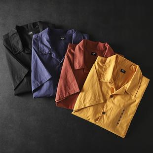 日系復古設計師款火爆古巴領襯衫男夏季新款透氣清涼時尚潮流短袖
