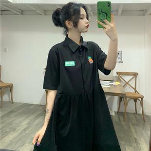 古着感小黑裙森女系少女小清新a字polo连衣裙港风裙女2019新款 夏