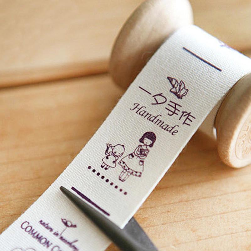 纯棉布标订做服装布标签印唛领标商标定制尺码水洗标定做手工布贴