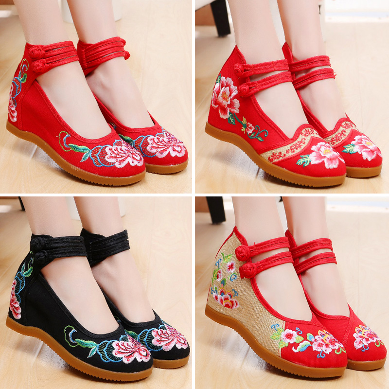 Ancient Chinese costume embroidered shoes old Beijing cloth shoes women fashion high-heeled embroidered red wedding shoes dance Xiuhe shoes