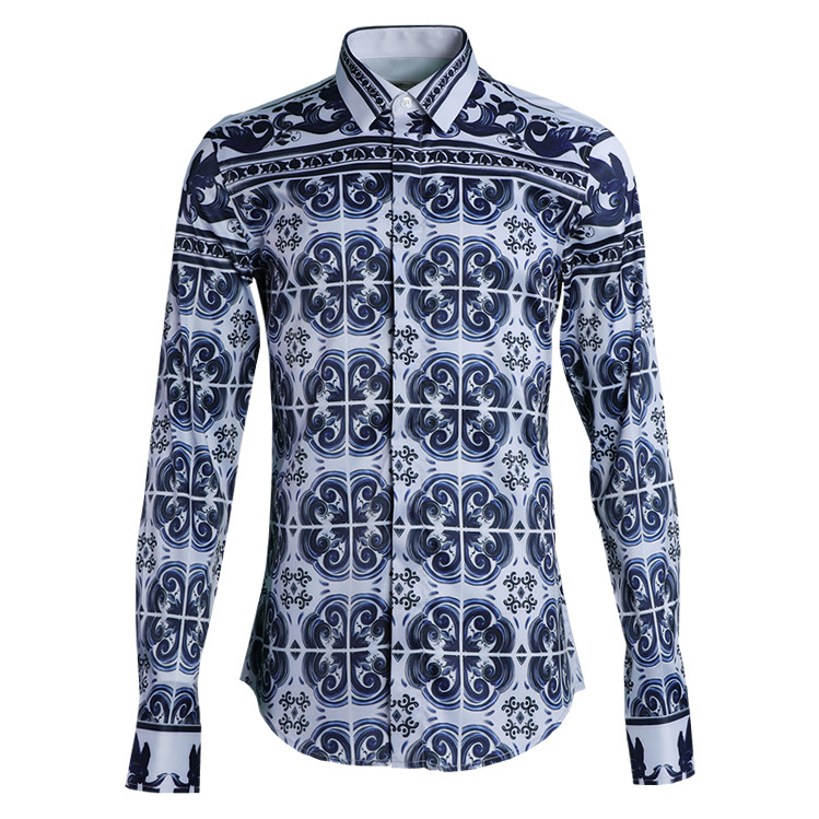 Givenbellen blue and white porcelain shirt mens blue and white porcelain blue and white porcelain shirt mens shirt with blue and white porcelain pattern is atmospheric and simple