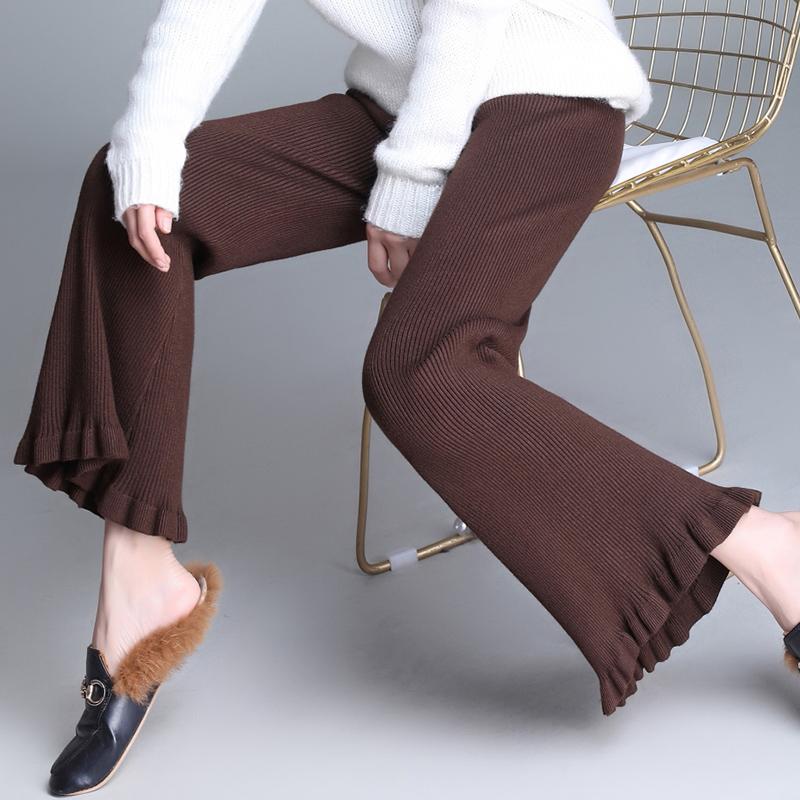 高腰休闲裤子荷叶边毛线长裤女秋冬宽松坠垂感针织阔腿裤微喇叭裤