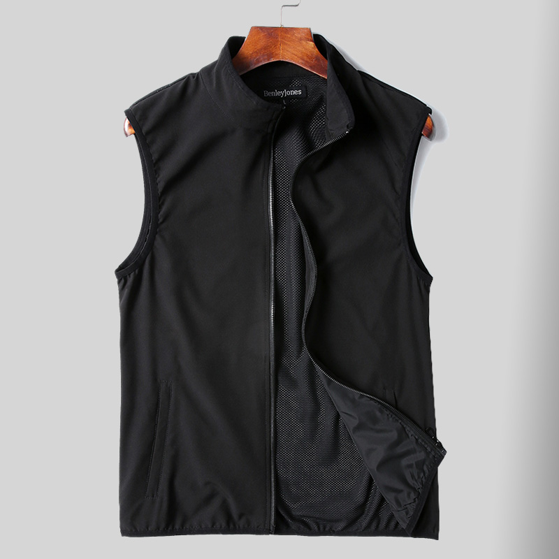Vest men's spring and autumn thin casual Vest Jacket men's summer thin sleeveless sports middle-aged summer shoulder