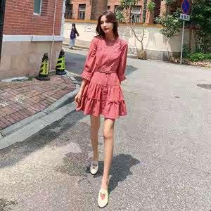 学生文艺小清新森系雪纺裙女连衣裙收腰显瘦中款衬衫裙新款单排扣