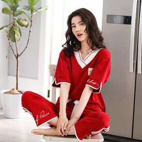 睡衣女夏季短袖长裤纯棉休闲大红色本命年春秋款可出门家居服套装