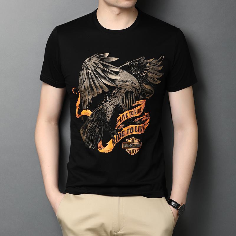 乔诺恩2020夏季男士青年短袖T恤衫纯棉圆领打底衫韩版时尚印花短t