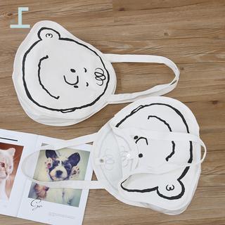 chic原创个性卡通帆布包简约萌妹帆布袋清新可爱学生斜跨大圆包