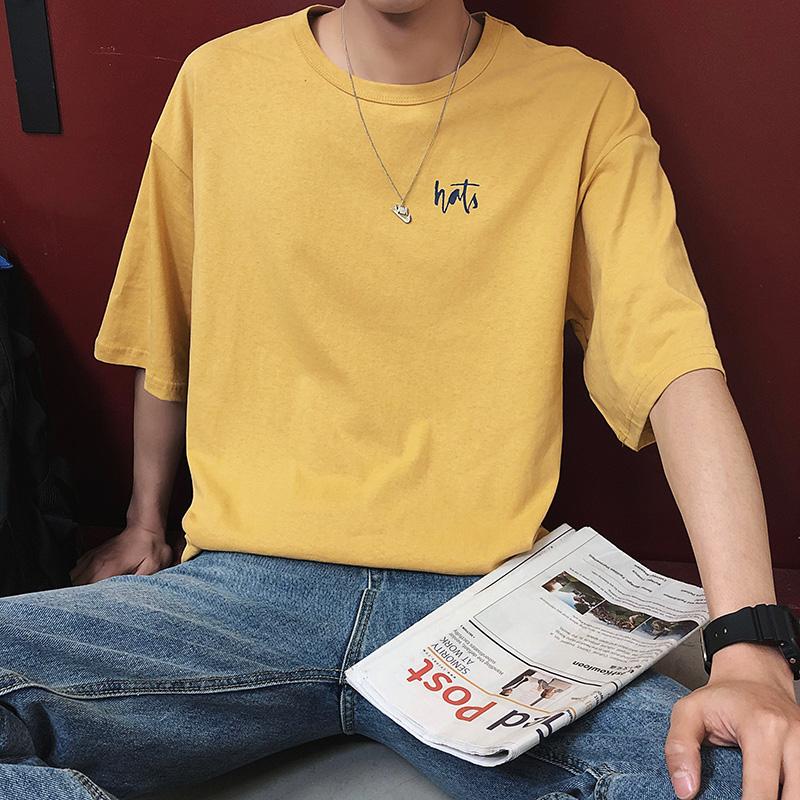 港风短袖T恤男韩版潮学生原宿风纯棉宽松潮牌潮流5五分半袖体恤男