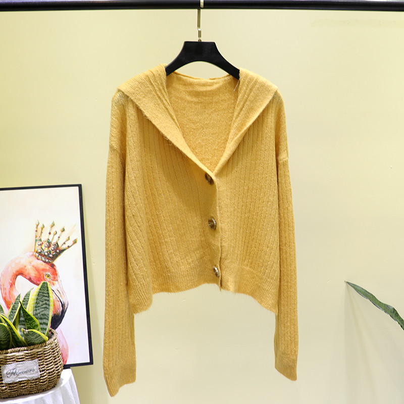 2020 new early spring thin Mohair hooded sweater womens cardigan jacket short V-neck lazy sweater