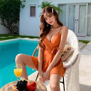 韩国夏季新款裙式显瘦连体泳比基尼