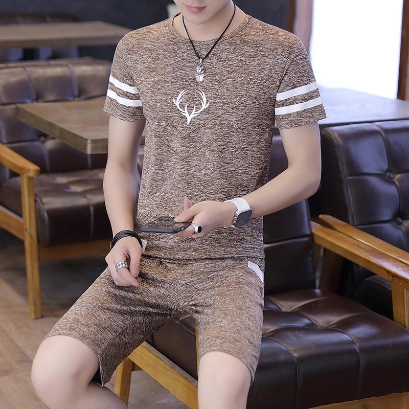 休闲套装男士夏季韩版修身冰丝t恤假一赔十