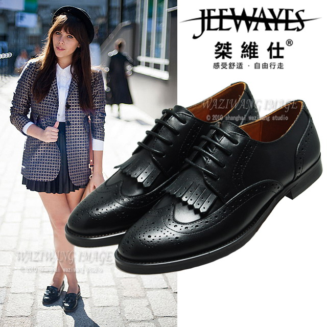 Shoemaker British retro tassel carving Brock Oxford shoes lace up flat heel pointed head waxed cow leather womens shoes