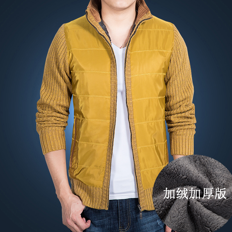 Autumn and winter mens sweater Plush sweater slim cardigan youth casual coat thickened knitted mens sweater