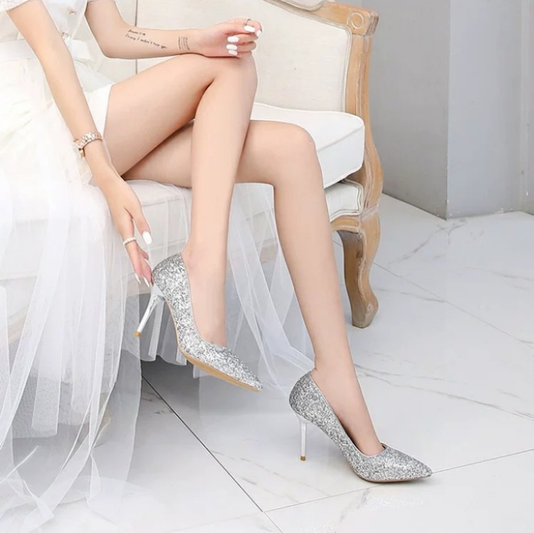2020 new fashion shiny black silver sequins shallow pointed stiletto heel Bridesmaid shoes night sexy high heels