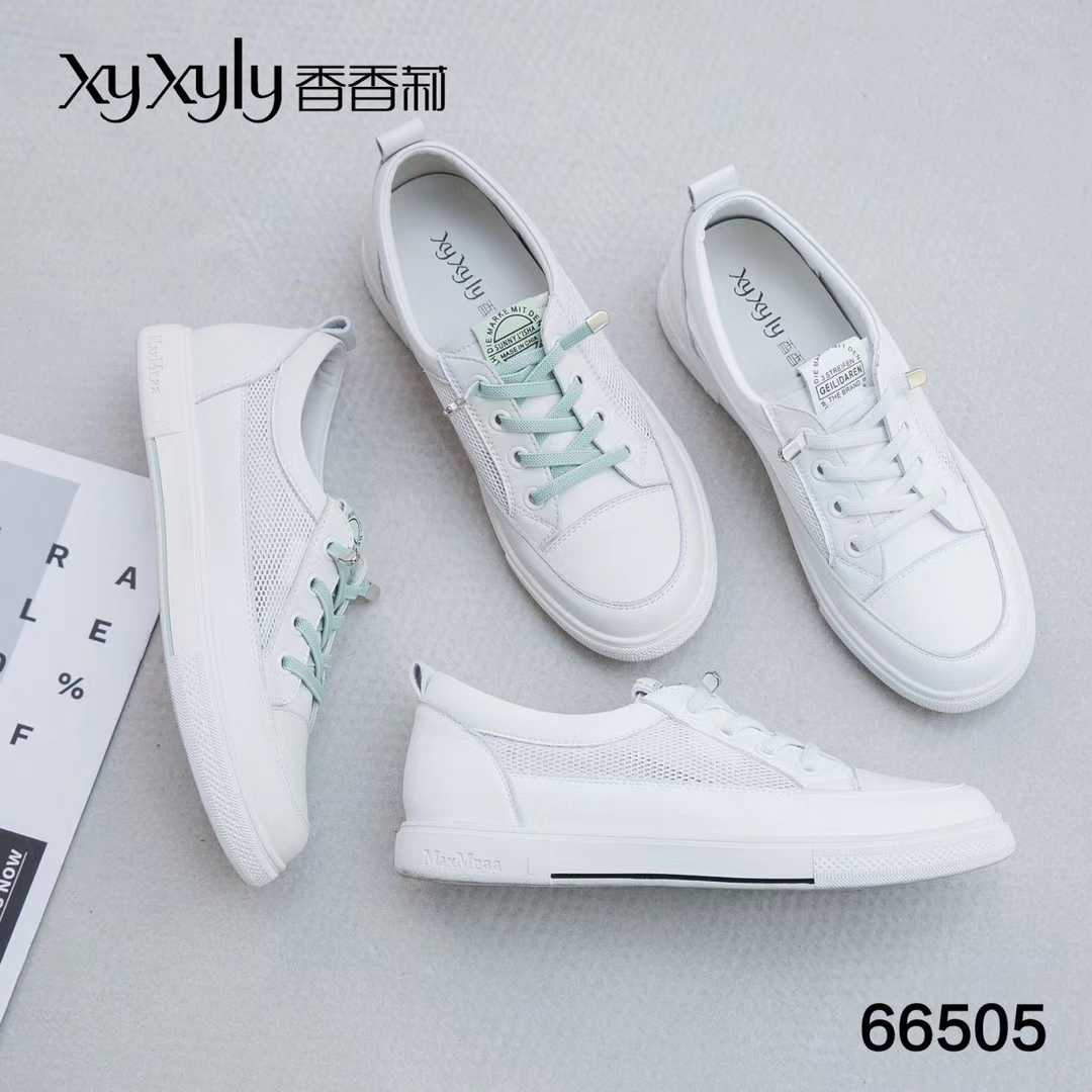 2021 spring new Xiangli womens shoes 66505 low heel flat heel mesh breathable lace up low top shoes comfortable