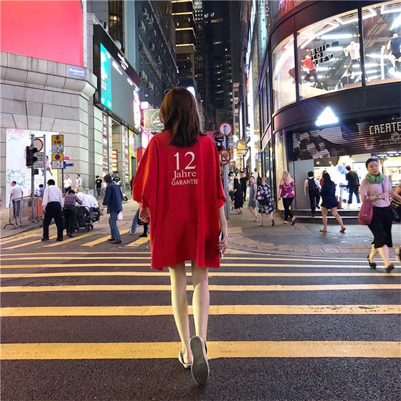 网红短袖女新款宽松中长款嘻哈t恤51.00元包邮