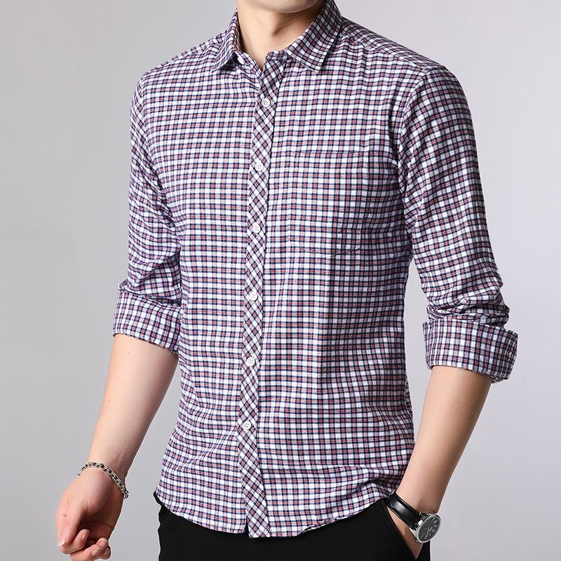 19秋款衬衫男纯色商务休闲格子长袖衬衫 QT2013 X9743 P70