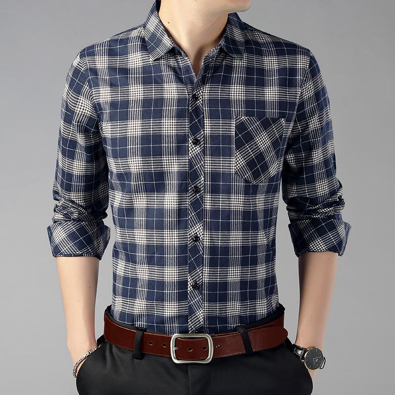 QT2013 D1812 P65 19秋款衬衫男条纹商务休闲格子长袖衬衫