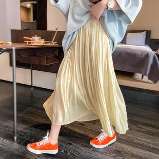晶咕家胖mm大码半身裙女2020新款夏季中长款光泽感气质高腰a字裙