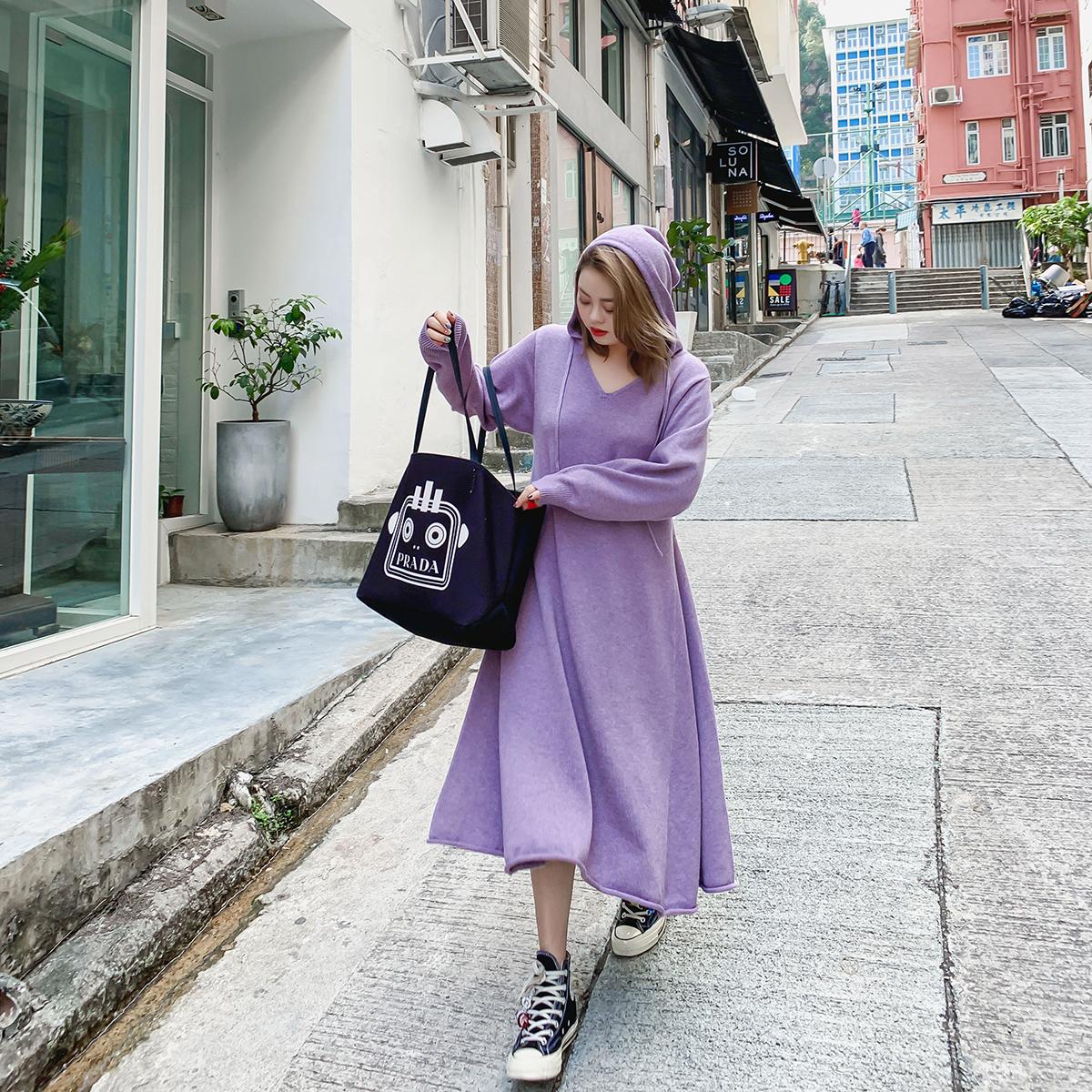 晶咕家针织连衣裙女V领2019新款女装春装韩版宽松中长款裙子长裙