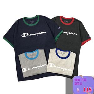 新款美版现货 Champion 草写大字母撞色包边 男女情侣潮牌短袖T恤