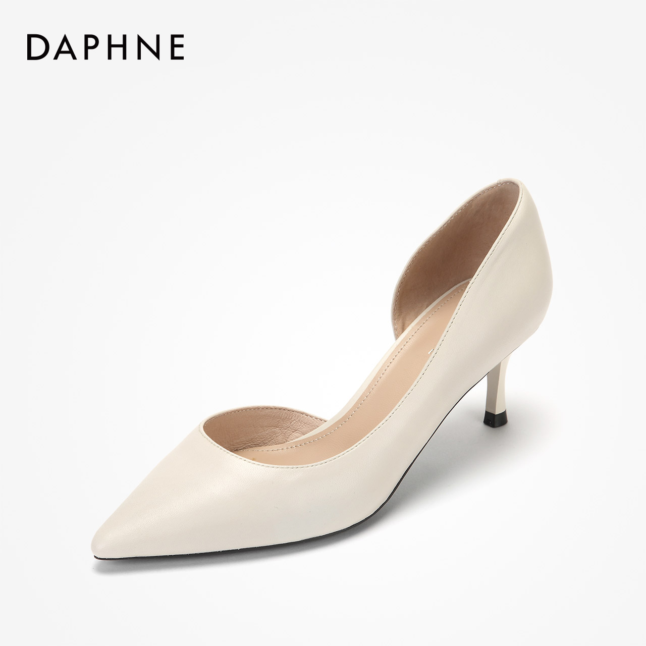 Daphne womens shoes 2019 sheepskin Aussie shoes hollow high heels side hollow thin heels Sen womens pointed single shoes